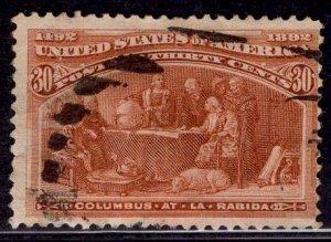 US Stamp #239 30c Columbian USED SCV $90