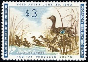RW28, Mallard Brood $3.00 Federal Duck Stamp Superb NH - Stuart Katz