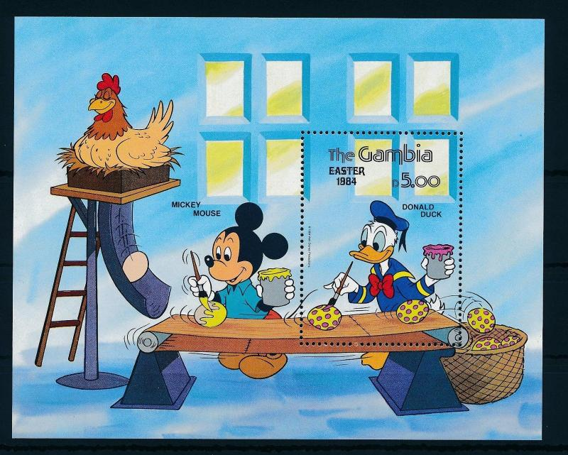 [22347] Gambia 1984 Disney Mickey Mouse Donald Duck Easter Eggs Chicken MNH
