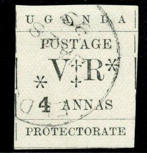 Uganda 1896 QV 8a black very fine used. SG 58. Sc 65.