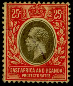 EAST AFRICA and UGANDA GV SG50d, 25c black and red/yellow, FINE USED.