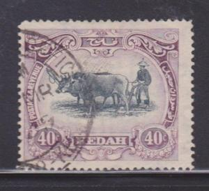 Kedah 40 VF-used neat cancel nice color cv $ 45 ! see pic !