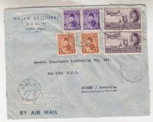 EGYPT, 1948 Airmail Censored cover, Cairo to Australia, 1m.(2), 10m.(2). 30m.(2)
