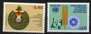 United Nations - Geneva 103-4 MNH Volunteers Program, Science, Agriculture