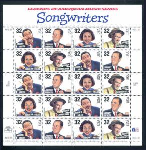 Songwriters 32¢ Sheet of 20 MNH  Sc 3100 - 3103 Legends of American Music Series