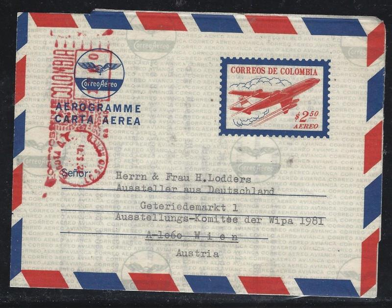 COLOMBIA  (PP0308B) 2.50 AIRPLANE AEROGRAMME URATED WITH METER TO AUSTRAIA