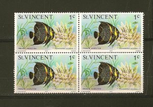 St Vincent 407 French Angel Fish Block of 4 MNH