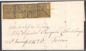 Italy Parma  #1 (4 stamps) on Rare Cover