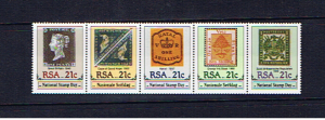 SOUTH AFRICA 1990 STAMP DAY STRIP OF FIVE U/MINT