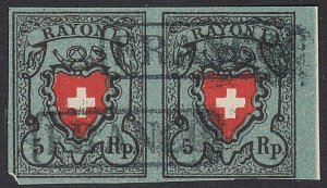 SWITZERLAND  An old forgery of a classic stamp - pair.......................C373