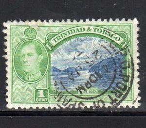 TRINIDAD & TOBAGO #50  1938  1c KING GEORGE VI & FIRST BOCA     F-VF  USED  a