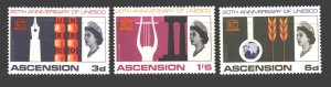 Ascension. 1967. 112-14. 20 years of UNESCO. MNH.