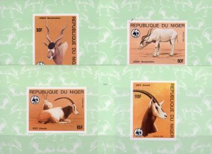 Niger 1985 Sc#688/691 WWF ANTELOPES 4 Deluxe Souvenir Sheets IMPERFORATED MNH