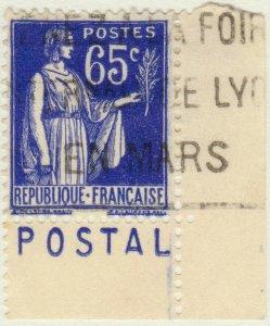 FRANCE - 1937 Pub CCP (POSTAL) sur Yv.365b 65c Paix Obl. TB