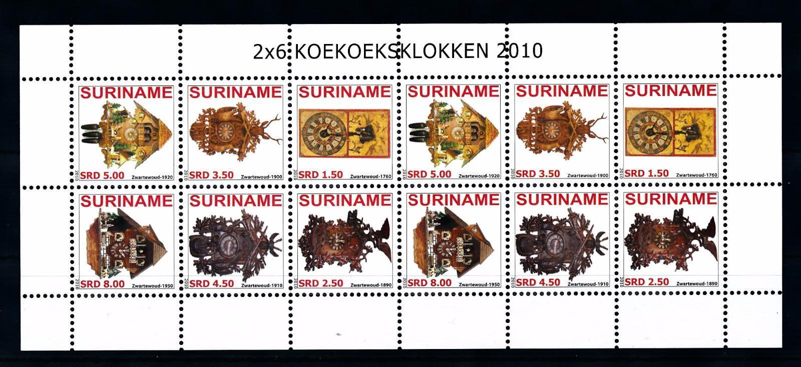SUV1698] Surinam 2010 Cuckoo Clocks Miniature sheet MNH