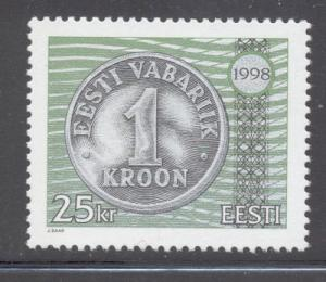 Estonia Sc 345 1998 25 kr coin stamp mint NH