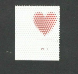 5431 Made Of Hearts US Single Stamp With Plate Number Mint/nh FREE SHIPPING