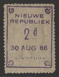 TRANSVAAL - NEW REPUBLIC 1886 (30 Aug) 2d blue granite, variety part inscription