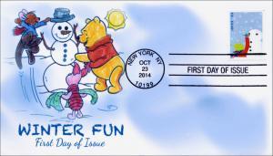 SC 4938, 2014, Winter Fun, Building Snowman, FDC,  Item 14-189