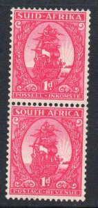 South Africa 1943 1d Ship carmine Coil Stamps Pair SG 106 MNH