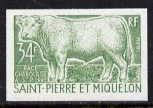 St Pierre & Miquelon 1970 Livestock Breeding 34f (Bul...