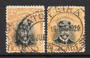 Rhodesia 1913 KGV 3d Admiral x2 shades Die II perf 14 used