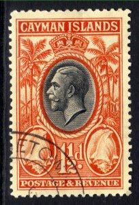 Cayman Islands 1935 KGV 1 1/2d Black & Orange used SG 99 ( B987 )