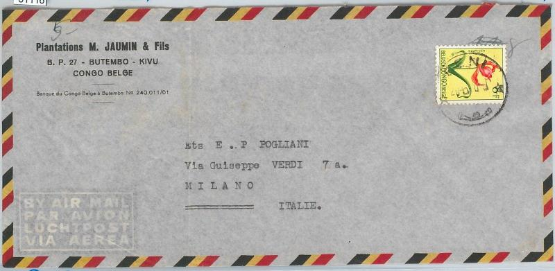61118 -  BELGIAN CONGO Belge - POSTAL HISTORY: COVER to ITALY 1960's - FLOWERS