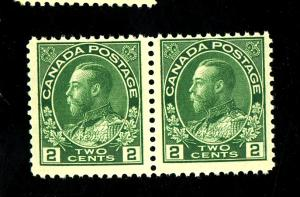 Canada #107 MINT Pair F-VF OG NH Cat $75