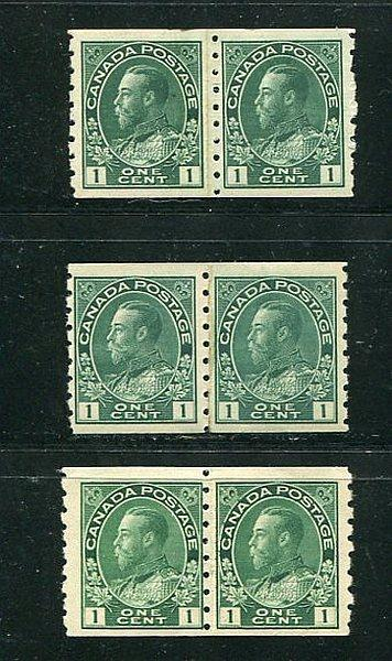 Canada #125i, iii and v Mint  Paste-up pairs scarce !