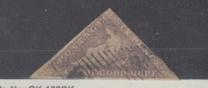 Cape Of Good Hope 1855 6d Pale Rose Lilac Triangle SG7 Fine Used JK1701
