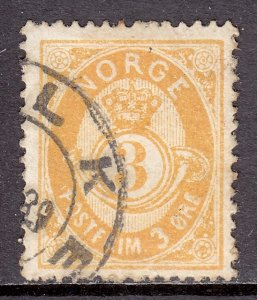 Norway - Scott #38 - Used - Small thin, toning - SCV $12.50