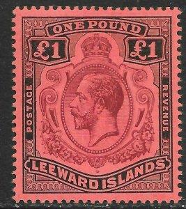 LEEWARD ISLANDS SG80b 1928 £1 PURPLE & BLACK ON RED CROWN&SCROLL VAR MTD MINT
