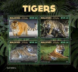 MALDIVES - 2019 - Tigers - Perf 4v Sheet - MNH