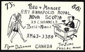 QSL QSO RADIO CARD Flying Dutchman/Judge,Annapolis Royal,Nova Scotia (Q1294)