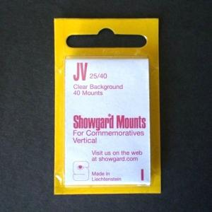 Showgard Stamp Mounts Size JV 25 / 40 mm CLEAR Background Package of 40