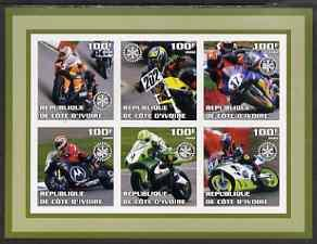 IVORY COAST SHEET IMPERF MOTORCYCLES MOTORCYCLING SPORTS