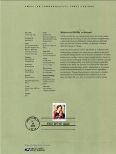 US SP1517 Christmas Madonna 3820 Souvenir Page FDC