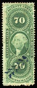 B424 U.S. Revenue Scott R65d 70c Foreign Exchange silk paper, herringbone cancel