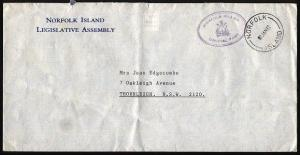 NORFOLK IS 1992 Official mail cover to Australia...........................97405