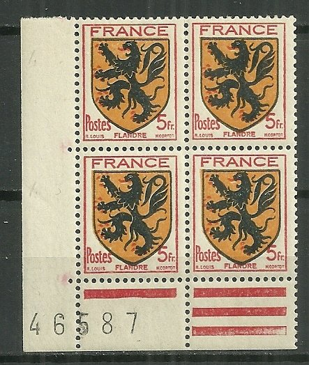1944 France #467 Arms of Flanders MH plate block of 4