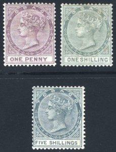 Tobago 1884 1d, 1s & 5s REVENUE Watermark Crown CA SG- Scott- MM/MH Cat £-($-)