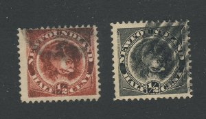 2x Newfoundland Dog U Stamps; #56-1/2c F/VF & #58-1/2c F/VF Guide Value = $15.00