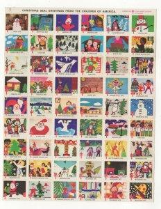 Cinderella TB Christmas Stamps 1975 USA Sheet of 54 Seals MNH