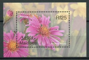 Maldives Flowers Stamps 2002 MNH Perennial Aster Little Pink Beauty Flora 1v S/S
