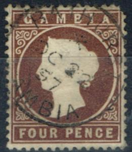 Gambia 1886 4d Brown SG30w Wmk Crown to right of CA Fine Used