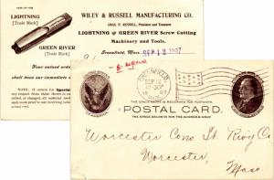 United States Massachusetts Greenfield, Mass. 1907 American Flag Type B14  Po...