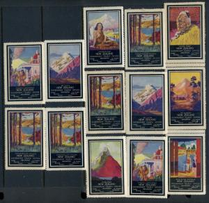 13 VINTAGE NEW ZEALAND SCENIC POSTER STAMPS (L643) GOVERNMENT TOURIST OFFICE