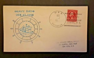1934 USS Canopus To New York NY Navy Day Illustrated Naval Cover