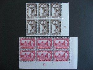 Malaya Trengganu Sc 77, 78 MNH plate blocks